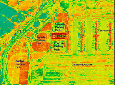 This NASA infrared photo, taken of Hartsfield Atlanta Airport, shows how paving materials can increase temperatures.